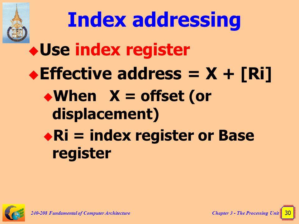 Index addressing Use index register Effective address = X + [Ri]